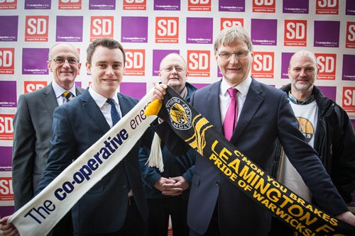 Mark Bullock from Supporters Direct and Co-operative Energy General Manager Ramsay Dunning, together with Jim Scott, Adrian Barton and Nick Rogers