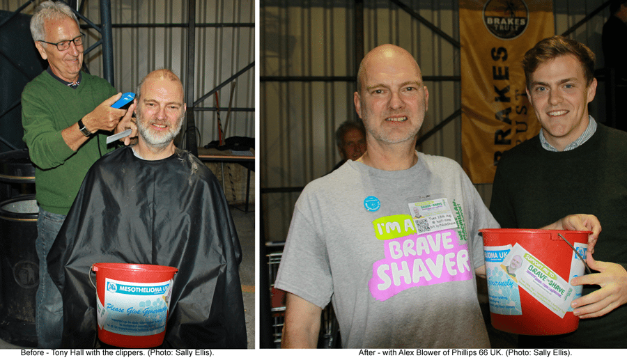Before and After the Shave: Tony Hall with the clippers and with Alex Blower from Phillips 66 UK. Photos by Sally Ellis.