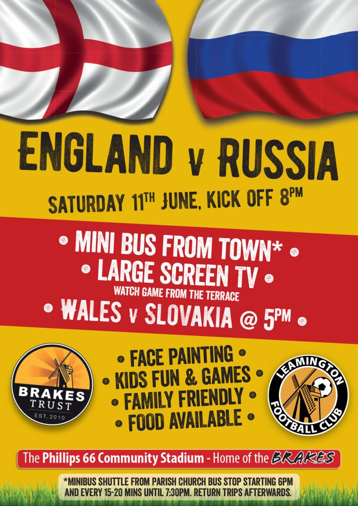 Eng v Rus 8pm Sat 11th June'16 @LeamingtonFC